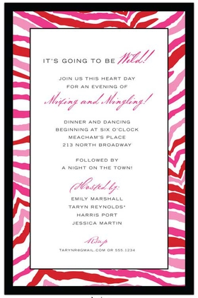 This wild and crazy invitation has a bright pink and red zebra pattern all along the border. Its great for a ladies night or bachelorette party! Includes a white envelope. <br>