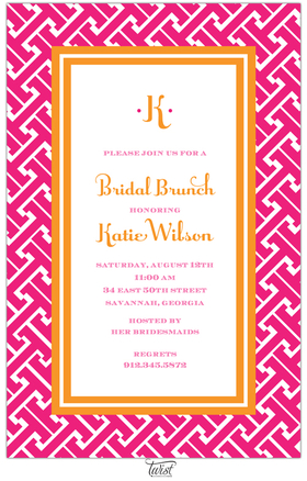 This versatile invitation features an orange double-line frame around the text area with a bright pink grid-like pattern around the border.  Perfect for any occasion! Includes a white envelope.