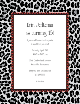 Get Wild! Animal print is a great way to dress up your next party.  This laser paper has the bold colors of black cheatah print and a red and black heart inner border to create a great announcement.  This paper is perfect for an engagement party, bridal party or ladies bachelorette party.  Colored envelopes are available but are sold seperately.