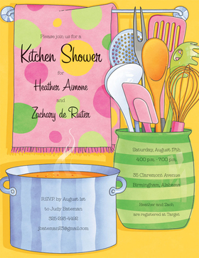 If you are planning a couples shower or a cooking party, this is a great paper. Designed with a bright yellow background and kitchen utensils and polka dotted towel with a pot steaming in the kitchen. Colored envelopes are vailable but are sold seperately.
