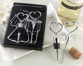 Eat, Drink and Be Married!  On the day your two loving hearts become forever joined, thank your guests for sharing the moment with a cleverly packaged, fun favor. This whimsical wine set with its heartwarming design creatively celebrates the bride and grooms great combination! Our chrome favors are solid chrome, with a notable weight and lasting quality, so theyre perfect souvenirs of your special day.<br><br>*Wine set includes chrome heart bottle stopper and tuxedo tie heart corkscrew.<br>Bottle stopper measures 4.5 inches long. <br>Corkscrew measures 5 inches long.<br>Gift box measures 6.5h x 4.5w x 1d inches.