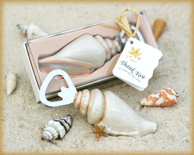 Shore Memories Sea Shell bottle Opener with Thank You Tag - This Shore Memories sea shell bottle opener makes a unique favor for guests. The bottle opener is made of high quality stainless steel. The shell handle is hand painted resin and it is so intricately detailed in its design that it looks like a real sea shell. Each sea shell bottle opener is presented in an elegant gift box with a clear top and a raffia tie. A designer tag that reads Thank you for sharing this day is included on each favor. The opener measures 4 x 1.5 inches and the gift box measures 5 x 2 inches.