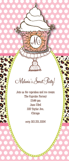 Discontinued<br><br>Sweet Party! A trendy new theme for a party and a perfect invitation! Designed with a Giant cupcake on top with a background of polka dots and a cheetah band completes this invitation.  Perfect for a sweets party, a bridal shower, a tweens party , or teen party.  Includes a coordinating envelope.