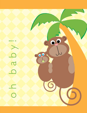 "This adorable monkey themed note card is digitally printed and decorated with a parent and baby monkey hanging on a palm tree.  The words ""oh baby!"" can be personalized with one line of text, such as a name. The inside is left blank for you to write a personal note. Includes white envelopes."