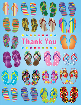"This bright and colorful beach themed note card shows pairs of flip flops in all colors and patterns.  The words ""Thank You"" can be personalized with one line of text. The inside is left blank for your personal message. Includes white envelope."