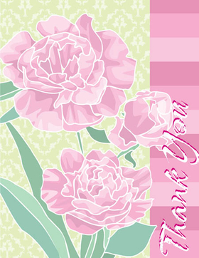 "This beautiful note card design is decorated pink carnations against a pale green damask background. The words ""Thank You"" can be personalized with one line of text. The inside is left blank for your personal message. Includes white envelope."