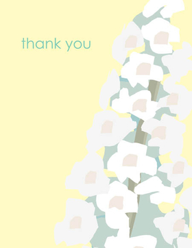 "This elegant floral note card shows a modern white blossom cluster against an soft yellow background.  The words ""thank you"" can be personalized with one line of text such as a name. Great for any occasion! The inside is left blank for your personal message. Includes white envelope."