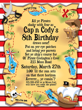 invitations birthday children juvenile boys treasure map