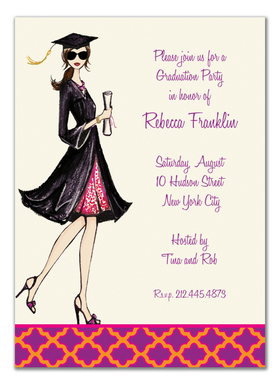 This fashionable graduation invitation from the Bonnie Marcus Collection features a brunette graduate proudly holding her diploma.  These invitations are expertly printed on luxurious warm white heavyweight paper (recycled and FSC certified).  A portion of the proceeds from the sale of this product is donated to breast cancer research and education. Warm white envelopes are included.
