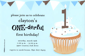This baby-blue invitation has a yummy cupcake with 1 candle, and fun banner border along the top.  Available blank or personalized.  Includes white envelope.