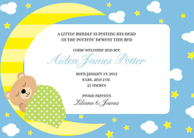 This adorable baby themed invitation is digitally printed and decorated with a little bear sleeping on a crescent moon against a cloudy background. All of the wording can be personalized. Includes white envelopes.
