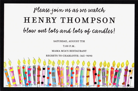 Colorful candles are the theme of this fun birthday invitation!  Created with a bold black border and a full row of colorful candles along the bottom.  This invitation is a great way to celebrate a Surprise Birthday Party or Milestone Birthday such as a 40th, 50th or 60th!  Includes an ivory envelope.
