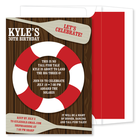 "This brightly colored nautical invitation with surely have your guests saying ""Ahoy!"".  Against a wooden deck  is a red and white life saver and two oars. Includes a white envelope with red liner."