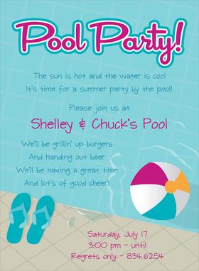 Invitations Tropical Pool Luau Beach Pool Summer