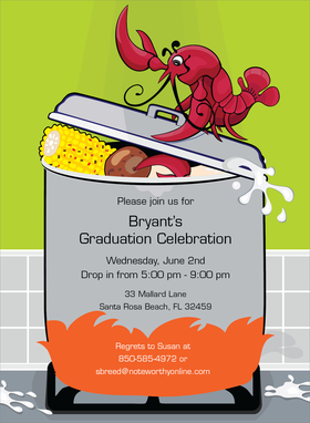 This fun and tasty invitation features a large silver pot over an open flame, with everything you need for a delicious seafood dinner!  Perfect for a bbq or crawfish boil.  Includes white envelopes.