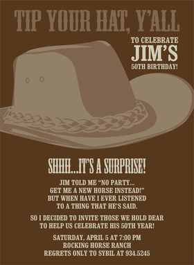 This western invitation features a brown cowboy hat against a chocolate-colored background.  Perfect for inviting your favorite cowboys over!  Includes white envelopes.