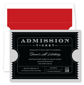 This elegant invitation features a black admission ticket with the personalization of your choice. Perfect for inviting your friends to any special occasion!  Includes a white envelope with red liner.