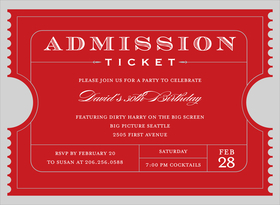 This Admission Ticket is a fun and unique way to invite your guests to any occasion!  Includes white envelopes. Invitation available in Bright Gold, Blue or Black.