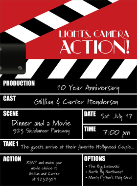 This bold invitation features a black and white movie directors clapper that displays the details of your event, with a bright red background on top.  What a fun way to invite friends to your special occasion! Includes white envelopes.