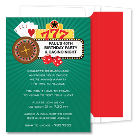 Are you feeling lucky?  This bright and fun invitation features a bold green background with a roulette wheel, red dice, playing cards and three lucky 7s across the top. What a great way to invite your friends ot your next casino night! Includes a white envelope with liner.