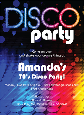This invitation will take you back to leisure suits and big hair!  This rainbow-inspired invitation is the perfect way to invite your friends to your next disco event!  Includes a white envelope.