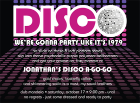 Time to get funky!  This 70s-inspired invitation features a background of pink and purple disco lights with a brilliant disco ball as the O in DISCO. The perfect way to invite your friends to your next funky gathering! Includes a white envelope.