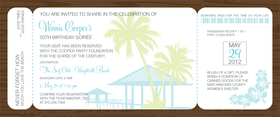 What a fun way to invite your friends to your next tropical-themed party!  This ticket invitation features a dark brown border, with a tiki hut in light blue, and pastel palm tree accents.  Includes a white envelope.