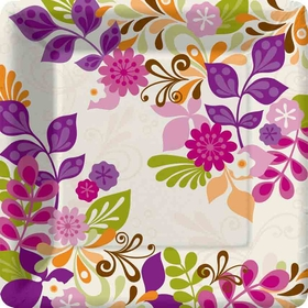 Beautiful mix of purple and green leaves dessert plates are sure to bring your event to life with the bright colors and fun designs. Coordinating pieces available.