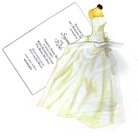 "This beautiful invitation features an elegant bridal gown die-cut that attaches to a full tulle overskirt with a shiny white bow.  Also attached is a white 3.5"" X 5.5"" card for your personalization.  Minimal assembly required.  We can assemble personalized orders for .50 per card (please make a note in the comments section).  Includes white envelope."