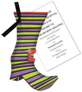 "This whimsical invitation features a a green and purple striped witchs boot with a bright red buckle.  The boot die-cut attaches to a white 3.5"" X 5.5"" card (for personalization) with a shiny black ribbon (included).  Minimal assembly required.  We can assemble personalized orders for .50 per card (please make a note in the comments section).  Includes white envelope."