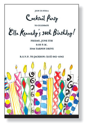 This fun and colorful invitation features lit birthday candles along the bottom in every color and design imaginable! Perfect for a birthday at any age! Includes white envelope.
