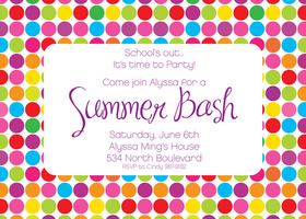 This bright and colorful invitation is made up of polka dots! It is a bold border design that brings life and light to your next party. This bright and fun design is perfect for a summer party. Try using it for a girls birthday, too! Includes white envelopes.