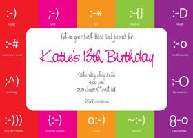 Invitations birthday teens emoticon invitation this fun teen invitation is decorated with bold stripes and several filmwisefo Images