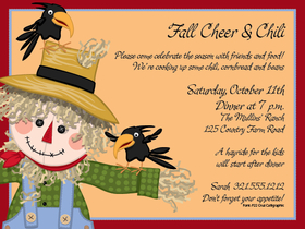 Holiday seasonal fall thanksgiving invitations scarecrow its time for fall this cute little scarecrow is too sweet for the job stopboris Images