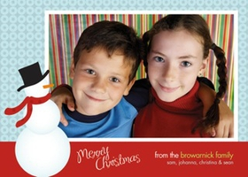 An adorable holiday photo card decorated with a snowman wearing a carrot nose, scarf, and top hat. Designed with a blue polka dot background and red border. It has room for one digital photo and your special holiday message! Printed on high quality card stock using crisp digital printing. Includes white envelopes.