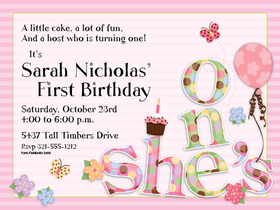 "This adorable invitation is made just for a little girls first birthday! It has sweet flowers, butterflies, a cupcake, a balloon, and the words ""shes one"" in the corner against a pink striped background. SO cute for celebrating her very first birthday.  Invitations include white envelopes.  Available personalized only."