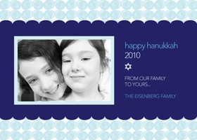 This Hanukkah photo card is decorated with a polka dotted light blue border against a darker blue background. There is room for one digital photo along with your personalized wording and a Star of David. Stay in touch with everyone you care about this Hanukkah season! Printed on high quality card stock using crisp digital printing. Includes white envelopes.<br>