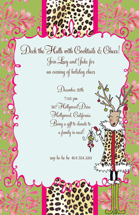 This wild holiday invitation is decorated with a festive reindeer in a leopard fur coat holding Christmas ornaments! The background is a pink and green floral with a matching leopard stripe down the middle. So spunky and stylish for a holiday party that will be totally fabulous! Glitter upgrade available for an additional $0.30 per card. Printed on textured white cardstock and includes coordinating colored envelope.