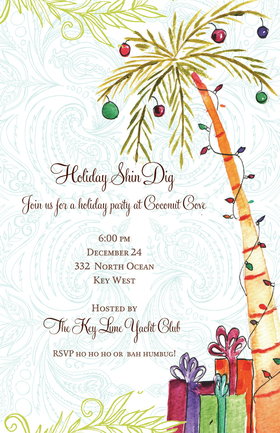 Looking forward to the holidays in the tropics? This invitation is decorated with a palm tree that is glittering with lights and ornaments and presents at the base! The entire thing is set against a light blue paisley background with a few strands of garland to garnish. Its a perfect way to celebrate a tropical Christmas party! Glitter upgrade available for an additional $0.30 per card. Printed on textured white cardstock and includes coordinating colored envelope.