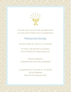 Printed on premium 100lb semi-gloss paper.  this invitation is designed with a light tan border and a blue and white tiled design on the background with a chalice cup in the center top of the invitation. Includes with envelope