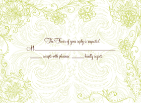 This graceful patterned response card is decorated with a green paisley background and green floral vines along the border. It is a perfect as an RSVP card or insert to coordinate with your invitation. Be sure to indicate ALL of your desired wording when ordering personalized, as well as your Reply Address (FREE when ordering personalized). Glitter upgrade available for an additional $0.30 per card. Printed on cream textured card stock and includes coordinating envelope.