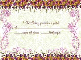 This lovely floral reply card is decorated with a violet floral border against a pale green paisley background. It is a perfect as an RSVP card or insert to coordinate with your invitation. Be sure to indicate ALL of your desired wording when ordering personalized, as well as your Reply Address (FREE when ordering personalized). Glitter upgrade available for an additional $0.30 per card. Printed on cream textured card stock and includes coordinating envelope.