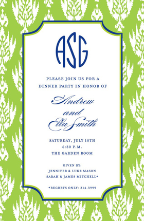 This elegant green design creates a perfect invitation that is perfect for any occasion.  Printed on an ivory cardstock with a navy border around the inner edge is perfect for an engagement party, company event or cocktail party.  Includes coordinating envelpes.