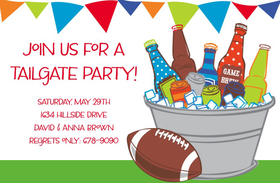 This mouth-watering invitation features everything you need for your summer party!  A large tub full of ice and beer bottles sits next to a football, with colorful flags across the top.  Available either blank or personalized.  Includes white envelope.