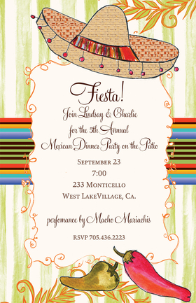 Its fiesta time! This invitation has a sombrero at the top and chili peppers at the bottom. The background is decorated with colorful stripes similar to the stripes in a sarape. Glitter upgrade available for an extra $0.30 per card. Printed on cream textured card stock and includes bright red envelopes.