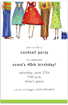 This simple yet elegant invitation features  five colorful party-goers in festive attire, holding their favorite cocktails and ready for a good time!  Available either blank or personalized.  Includes white envelope.