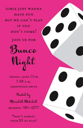Luck be a lady tonight!  This fun invitation features two large white dice against a hot pink background.  Perfect for Bunco Night or girls night out at the casino! Available either blank or personalized.  Includes white envelope.