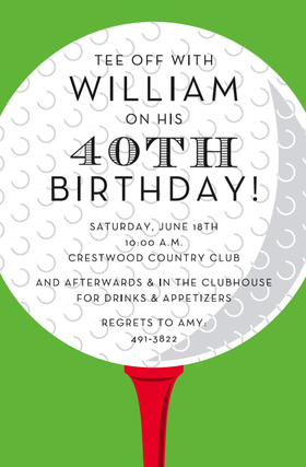 This eye-catching invitation features a large white golf ball on a bright red tee, against a bold green background.  Perfect for your next golfing event or birthday gathering!  Available either blank or personalized.  Includes white envelope.