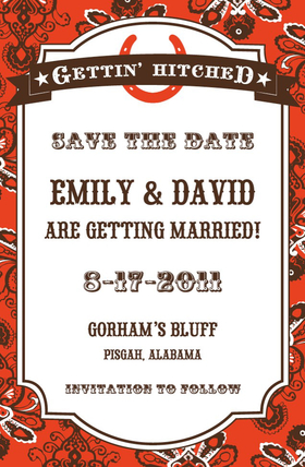 A Western style engagement party is in order for your big event.  This western style invitation is sure to bring your engagement party alive with its fun bandana background and a bold red horse shoe printed on the top.  Perfect for an engagement party or engagement BBQ.   Includes coordinating envelpes.