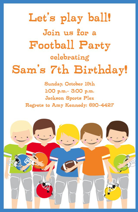 This fun and colorful invitation features five smiling football players, holding their helmets like they have just won the big game!  Available either blank or personalized.  Includes white envelope.